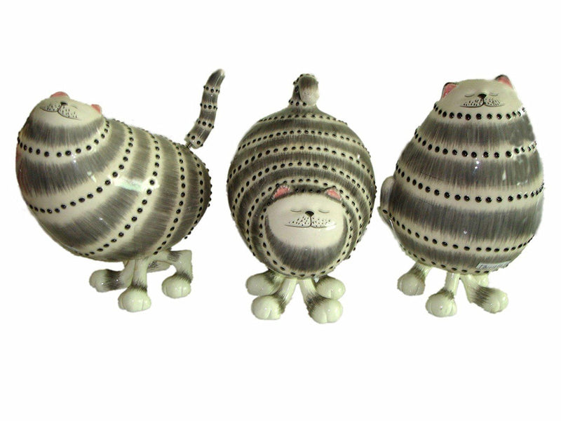 Grey Striped Bobble Cat, set of 3 by Ranger International