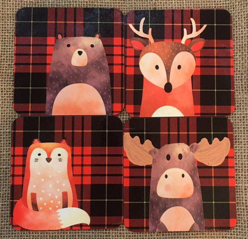 GP Originals Forest Friends Coaster with Red Plaid Background, Set of 4
