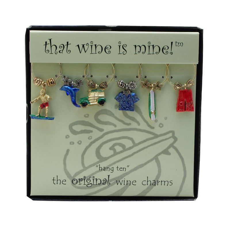 "Wine Things ""Hang Ten"" Painted Wine Charms, Fits Neatly Around Stem, Multicolor"