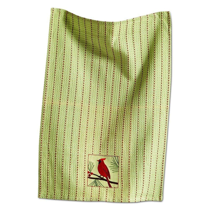 TAG Holiday Collection Cardinal Embroidered Waffle Weave Cotton Dishtowel