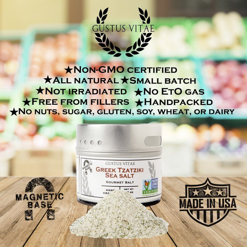Greek Tzatziki Sea Salt | Non GMO Verified | Magnetic Tin | Small Batch Artisan Seasoning