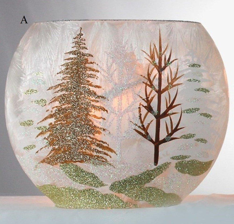 Stony Creek Winter Landscape Collection Lighted Oval Glass Vase, Choice of Style