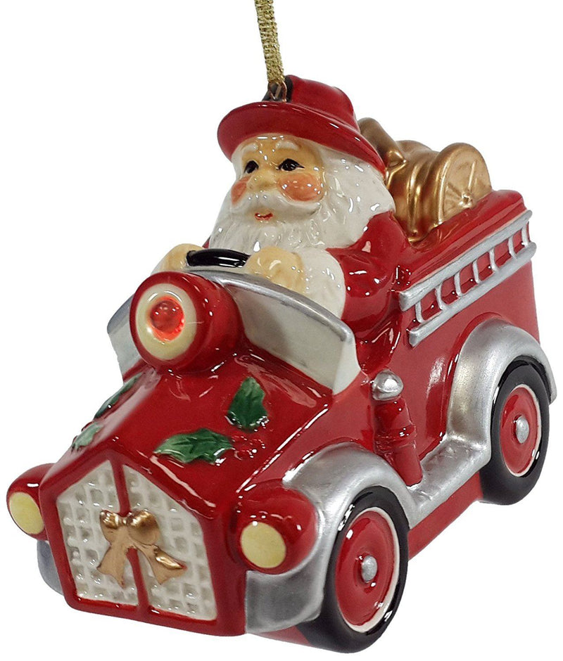 Cosmos Gifts Santa Fireman in Truck Ornament