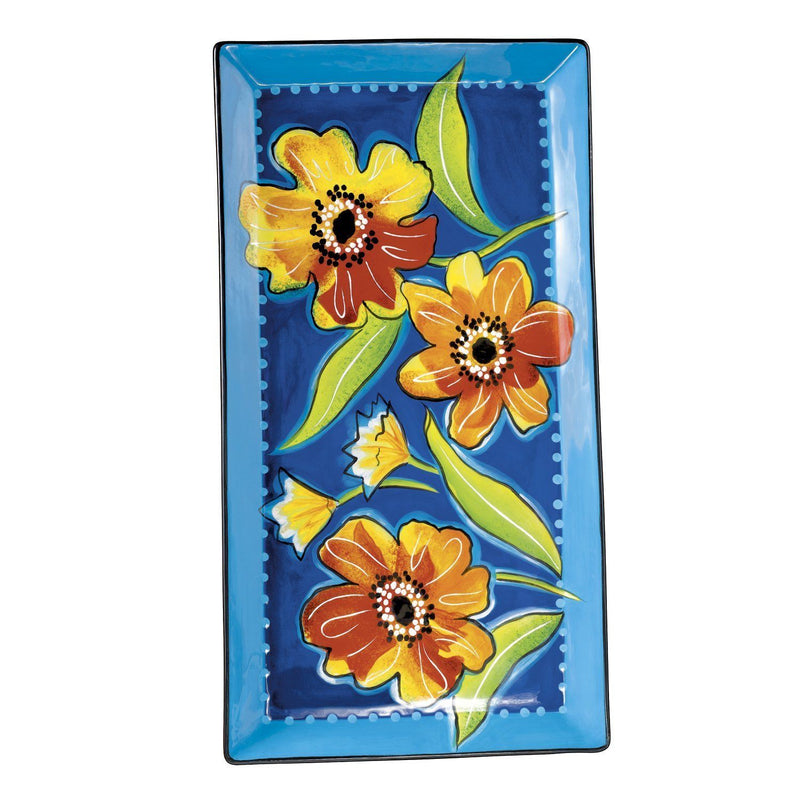 Grasslands Road Petals 8-3/4-Inch by 16-3/4-Inch Floral Hand Painted Serving Tray with Stand - Grasslands Road