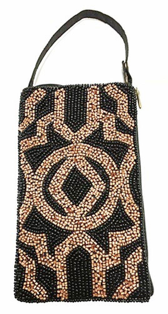 Bamboo Trading Company Cell Phone Club Bag, Black & Copper Diamond Design