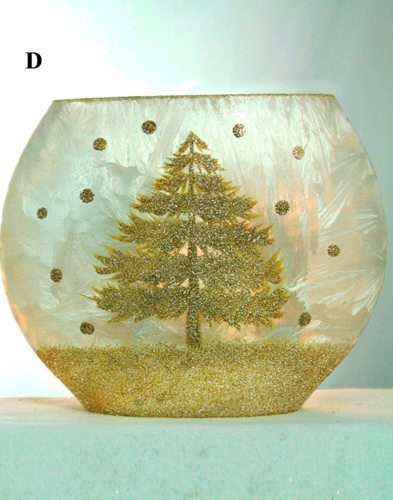 Stony Creek Winter Landscape Collection Oval Glass Vase With Light Set, Choice of Style