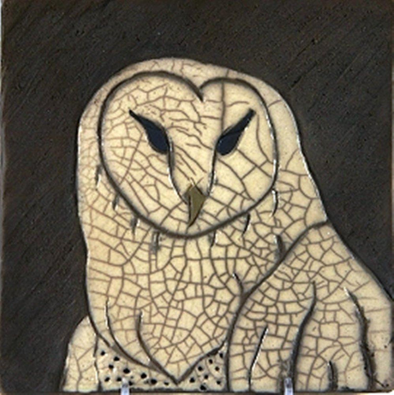 MJ Wilkinson Pottery ''Owl'' Art Wall Tile, Set of 2