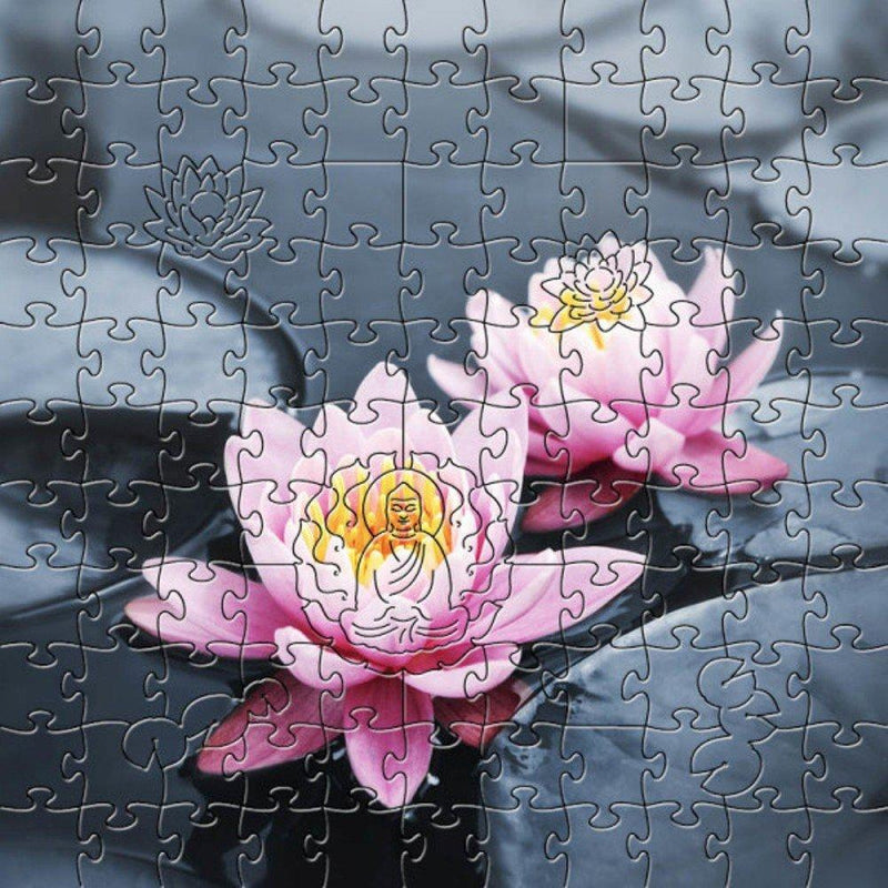 Zen Art & Design Artisanal Wooden Jigsaw Puzzle, Lotus Blossoms, Small