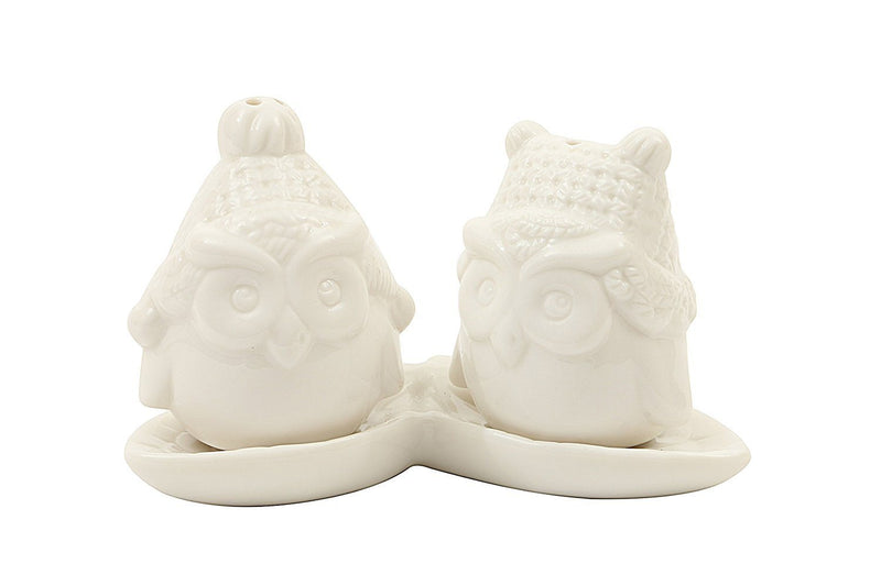 Creative Co-Op Ceramic Owl Salt and Pepper Shakers with Tray (Set of 3), White
