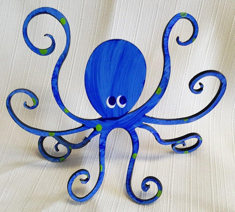 Rebecca Duffy Bush Metal Artwork Octopus Hand Painted Steel Sculpture, Choice of Color - Rebecca Duffy Bush Metal Artwork