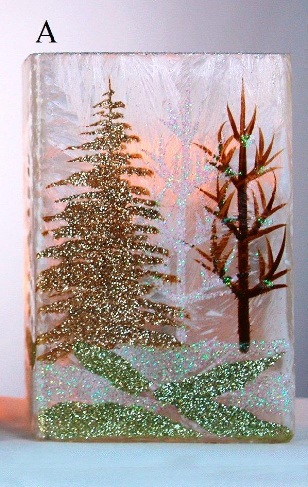 Stony Creek Winter Landscape Collection Lighted Rectangle Glass Vase, Choice of Style