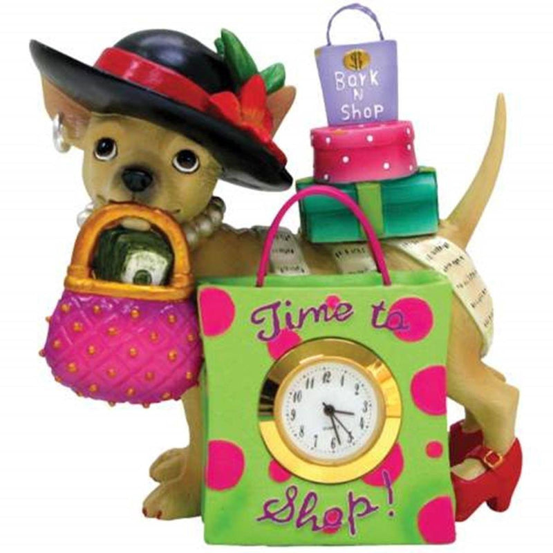 Time To Shop Aye Chihuahua Shopaholic Mini Clock