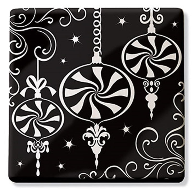 "Epic 75-266 Christmas ""Twilight Ornament"" Theme Square Ceramic Trivet Hot Plate"