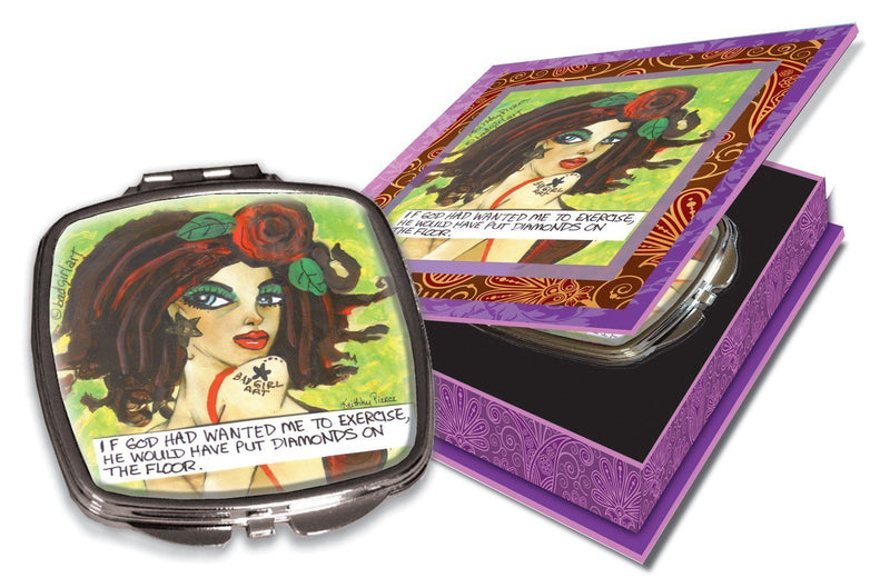 Luckie Street Mirbgheather Bad Girl Couture Compact Travel Mirror Heather