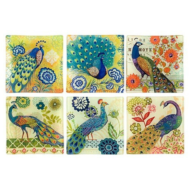 World Buyers Peacock Garden Print Glass Trinket Dish/Tray, Set of 6