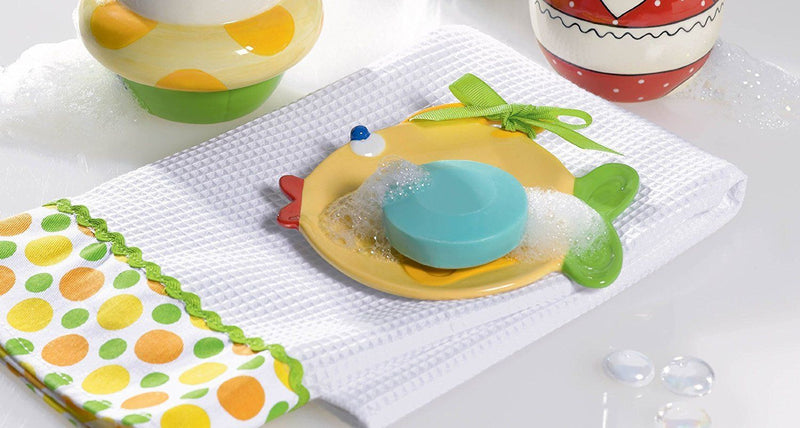 Grasslands Road Studio 100 Making Waves Yellow Fish Shaped Dish with Matching Towel, 2 Piece Set