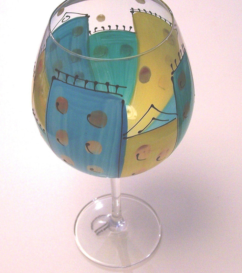 Handpainted Houses/City Scape Wine Glasses by Leslie