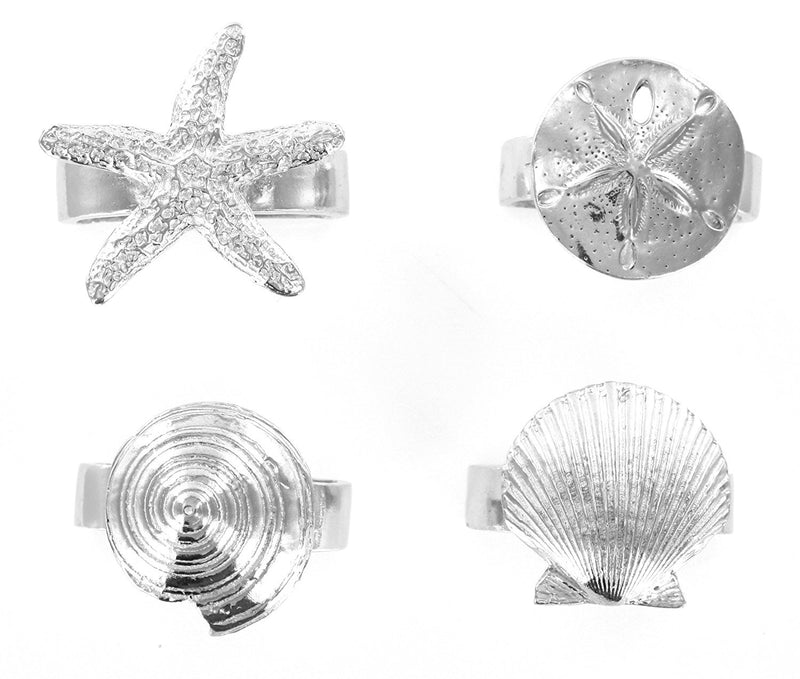 Pewter Seaside Seashell Starfish Napkin Rings Set of 4
