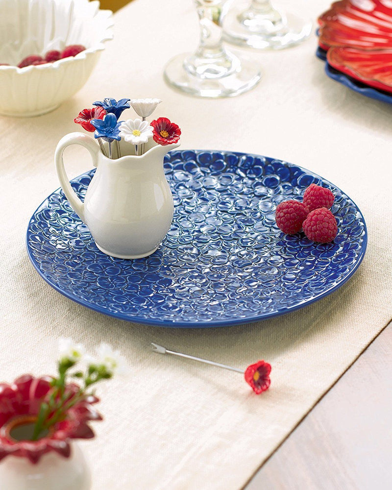 Grasslands Road American Bloom Ceramic Appetizer Serving Tray with Picks in Pitcher Holder