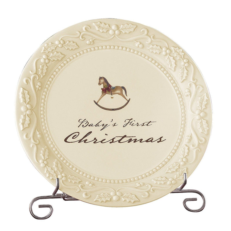 Grasslands Road Good Tidings 8-Inch Round Baby's First Christmas Plate with Stand