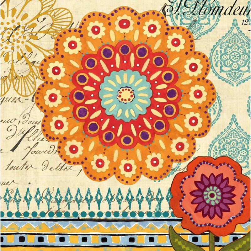 Proud Peacock Pattern Flowers Luncheon Napkins
