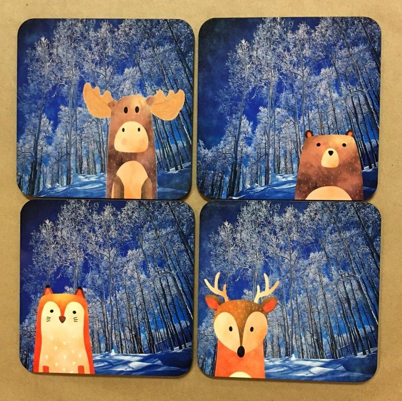 GP Originals Forest Friends Coaster with Blue Aspen Background, Set of 4