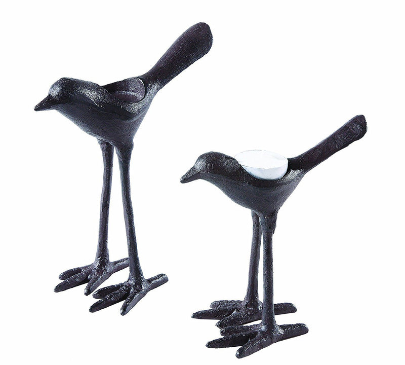 Creative Co-Op Cast Iron Bird Tealight Holder Set