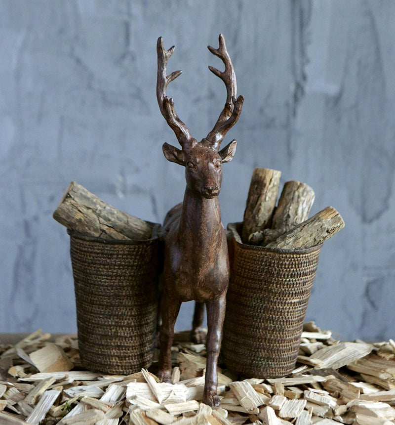 Resin Tabletop Deer Pencil Holder with Two Cups