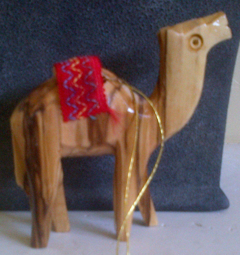 Earth Wood Hand Carved Camel with Red Blanket Ornament Made in Bethlehem