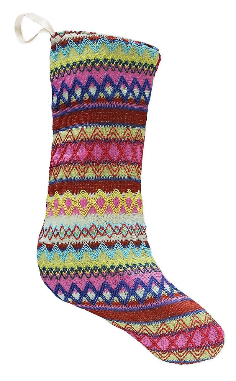 Creative Co-Op Zig Zag Pink Multicolored Knit Christmas Stocking