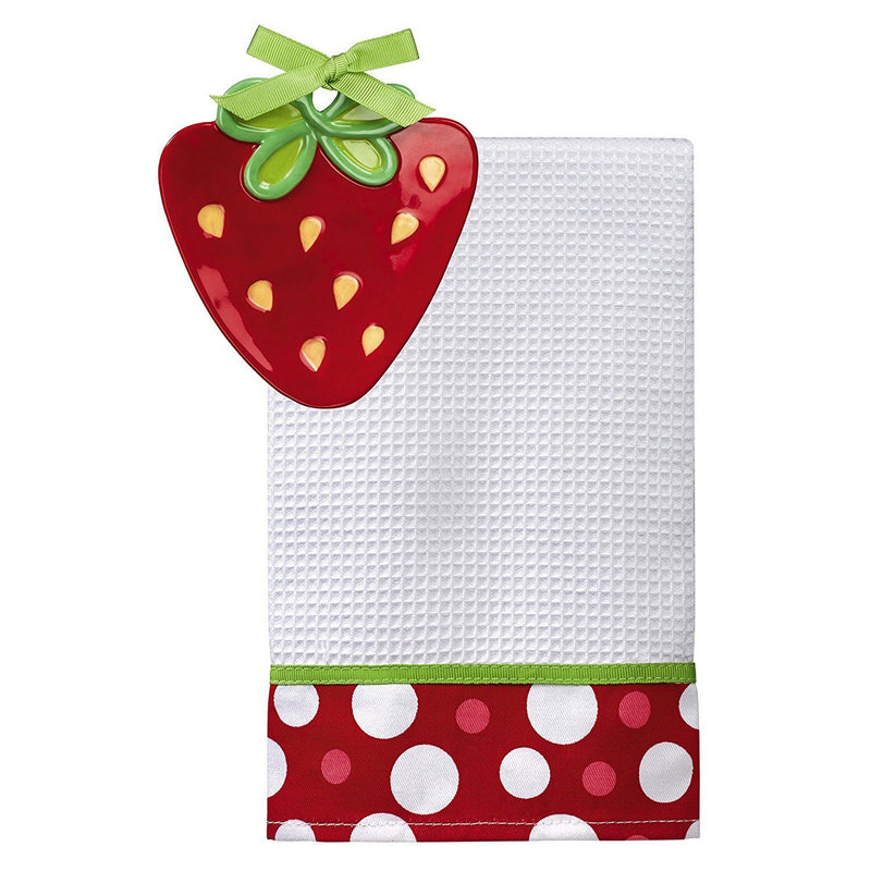 Grasslands Road Studio 100 Splash of Color Strawberry Dish with Matching Towel, 2 Piece Set