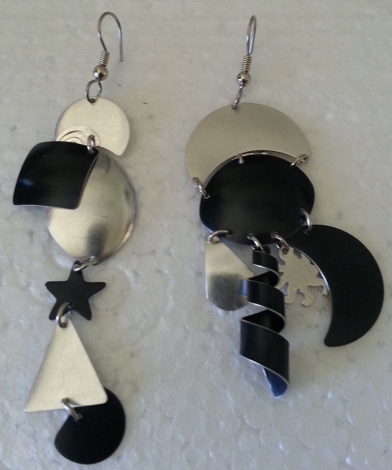Eclat by Sylvi Earings, Black and Silver Dangly, Handmade in the USA