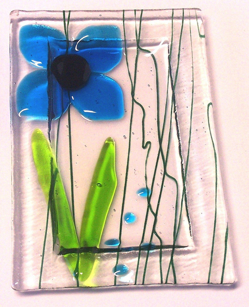 Snazzy Glass Blue Flower Trinket Dish