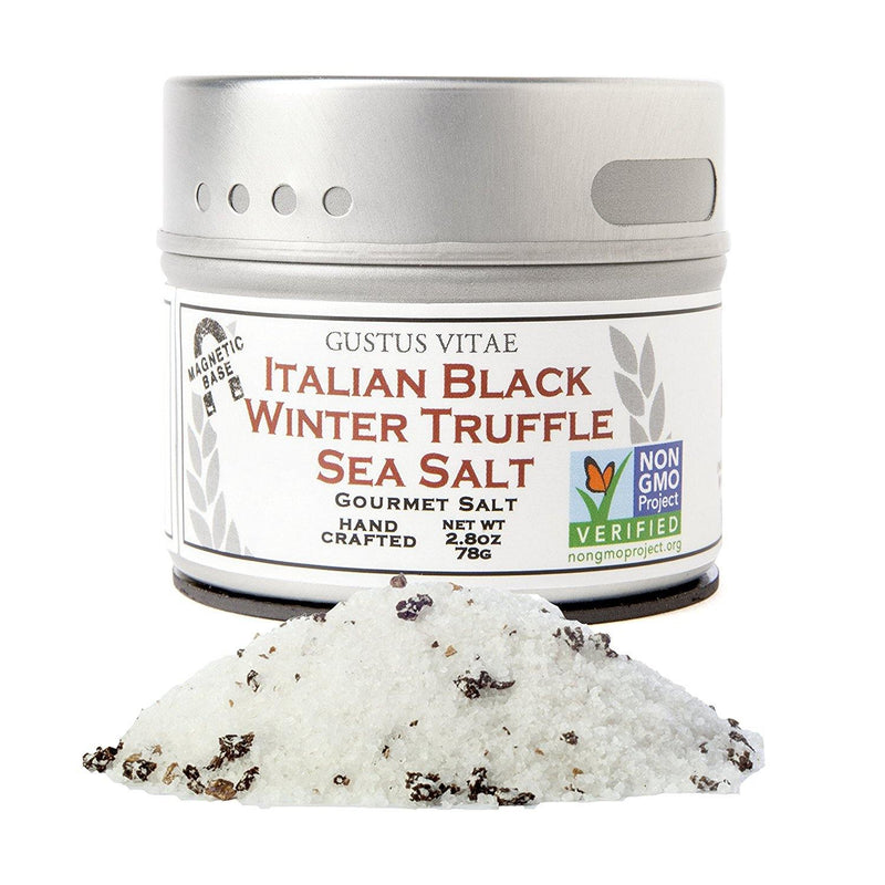 Gustus Vitae, Condiments, Gourmet Salt, Italian Black Truffle Sea Salt, 2.7 oz
