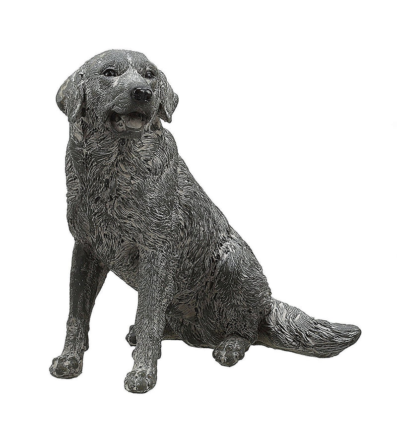 Creative Co-op Shabby Chic Resin Dog, Distressed Grey Finish, Golden Retriever - Creative Co-op