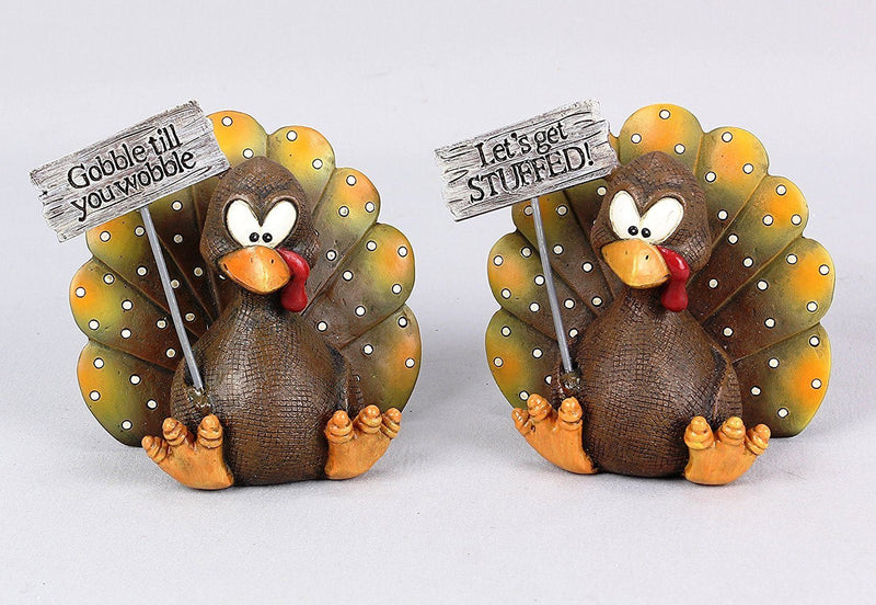 Young's Turkey Tabletop Figurine, Set of 2