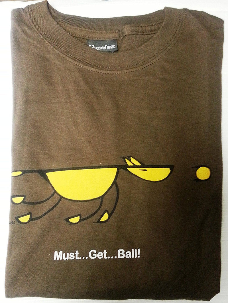 Artimals Must...Get...Ball!! Brown T-Shirt, Small, Made in the USA