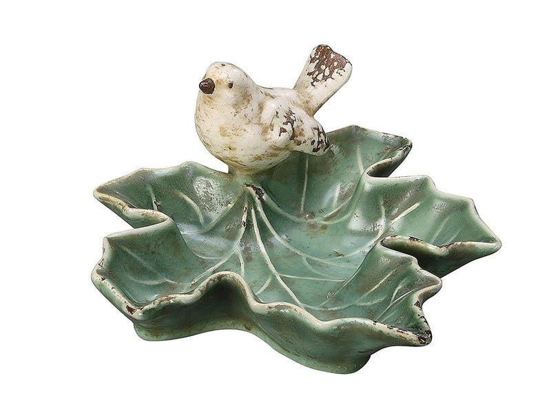 Creative Co-op Ceramic Leaf Dish with Bird, Green - Creative Co-op