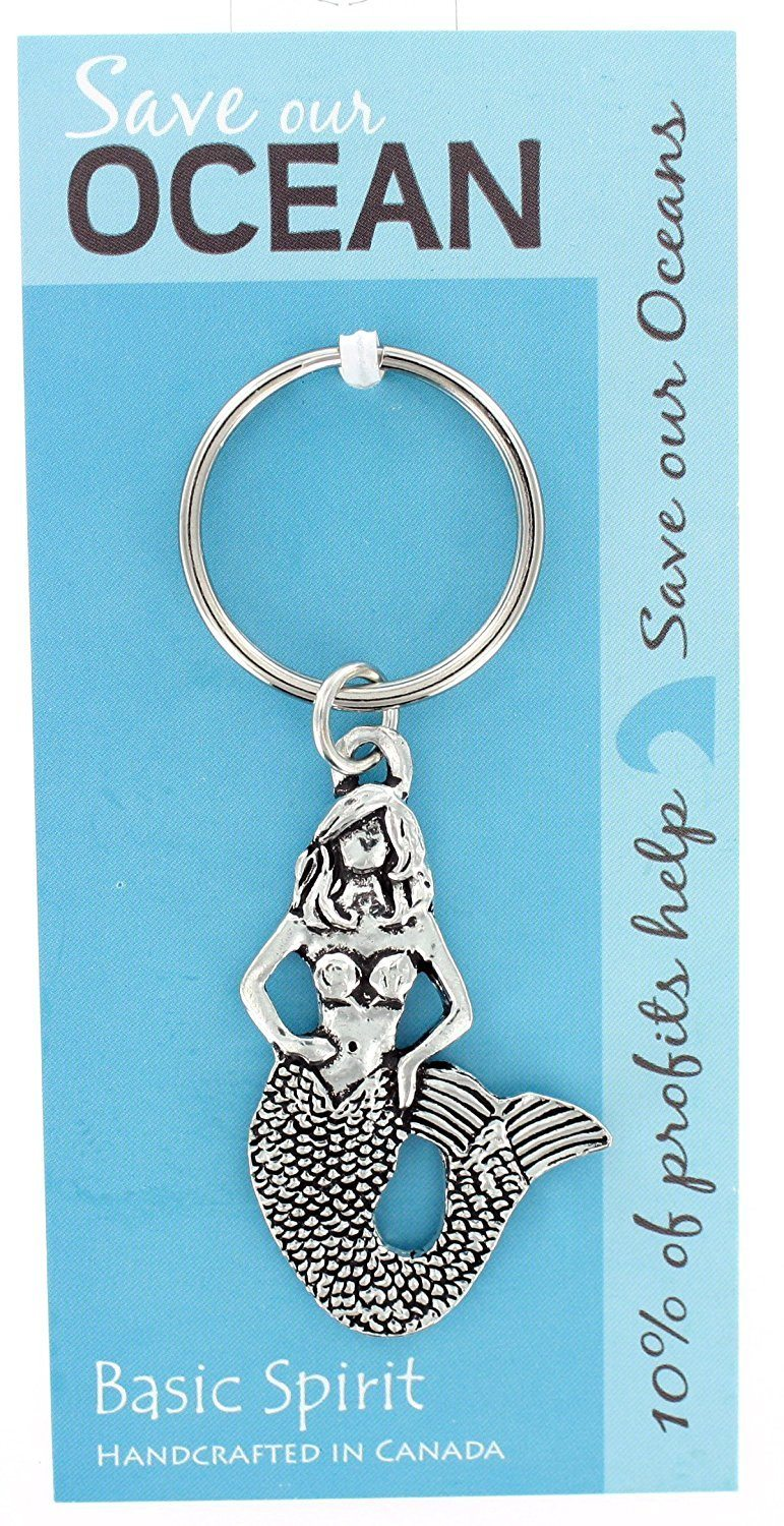 Basic Spirit Pewter Global Giving Save Our Oceans Mermaid Keychain