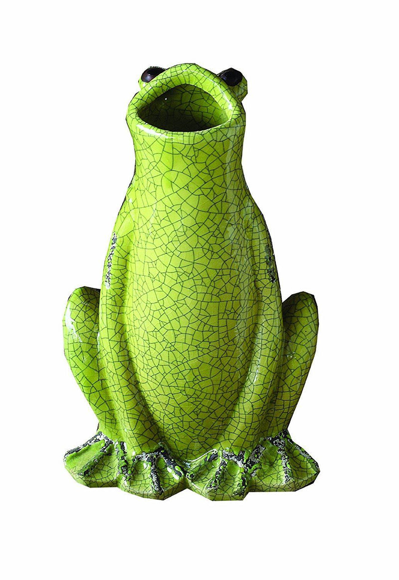 Creative Co-Op Stoneware Frog with Crackle Finish, Green