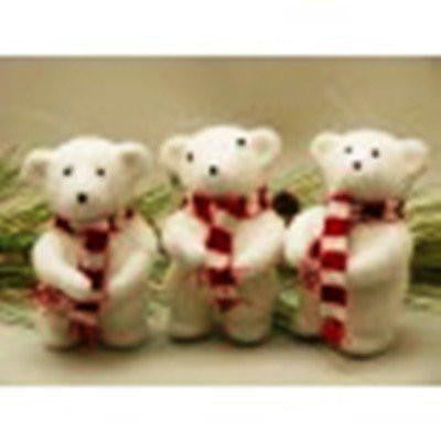 White Polar Bear Figurines, Set of 3 by AA Floral