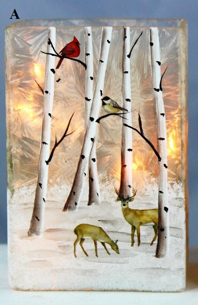 Stony Creek Birch & Friends Collection Lighted Rectangle Glass Vase, Choice of Style