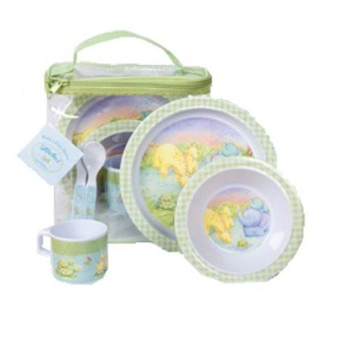 CR Gibson Baby and Toddler Plate, Bowl, Cup, Fork and Spoon Dining Set, Little Pond