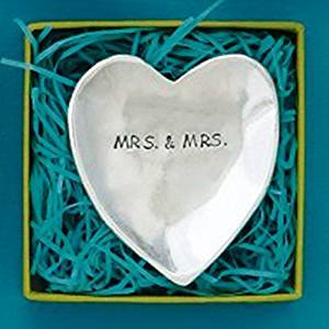 Basic Spirit Mrs. & Mrs. Heart Shaped Pewter Charm Bowl, Made in Nova Scotia