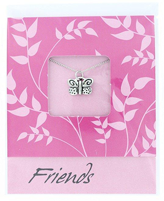 Basic Spirit Note Card with Pewter Necklace - Choice of Style (Butterfly) - Gifts From A Distance