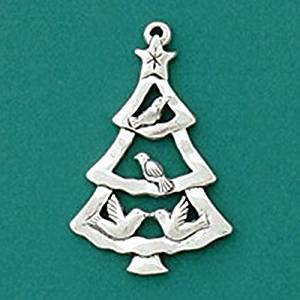 Basic Spirit Global Giving Pewter Ornament, Four Birds in Tree, Made in Nova Scotia