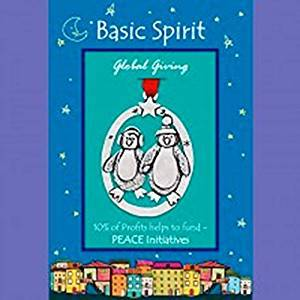 Basic Spirit Global Giving Pewter Ornament, Penguins, Made in Nova Scotia