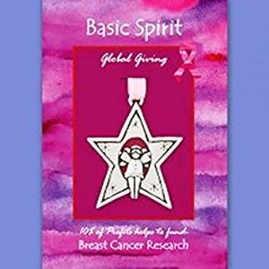 Basic Spirit Global Giving Breast Cancer Research Angel in Star Pewter Ornament, Made in Nova Scotia