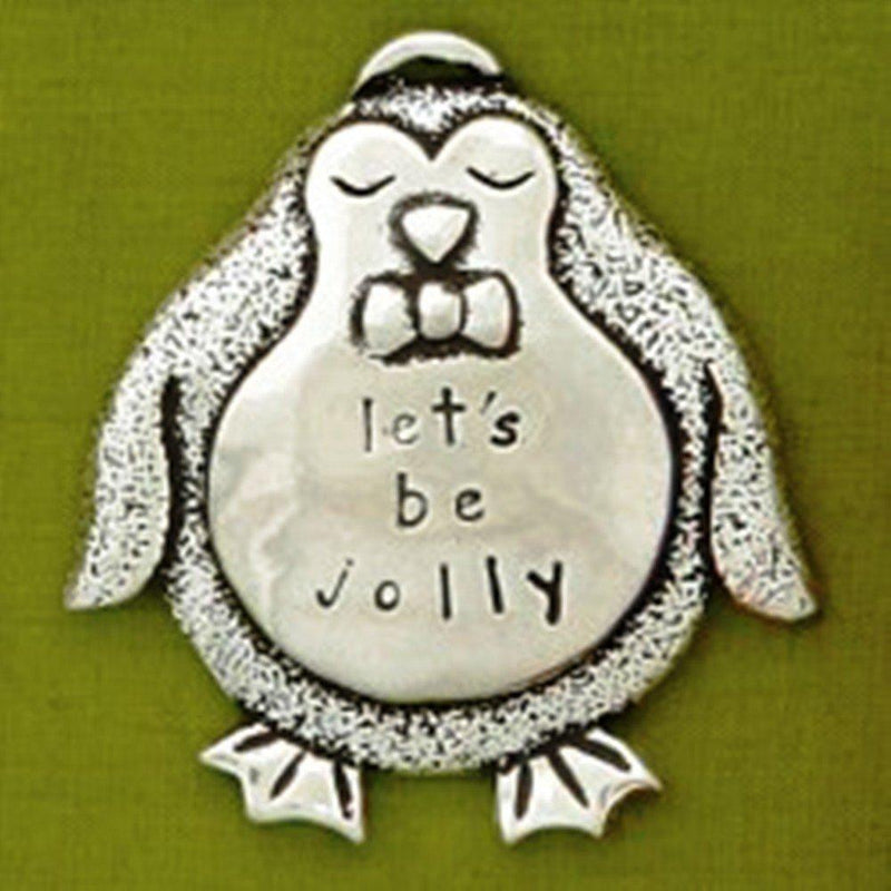 Basic Spirit Penguin Jolly Let's Be Jolly Pewter Ornament, Made in Nova Scotia