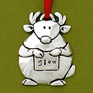Basic Spirit Reindeer Jolly Glow Pewter Ornament, Made in Nova Scotia